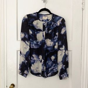 Kate Spade blue collarless watercolor blouse top